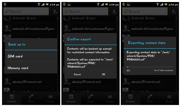Backing up contacts on LG Optimus Black