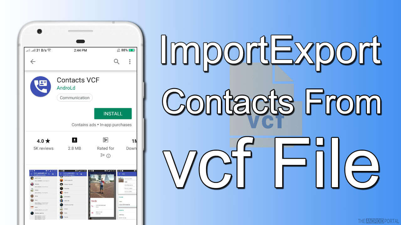 Import/Export Contacts As vcf File to LG Optimus Black