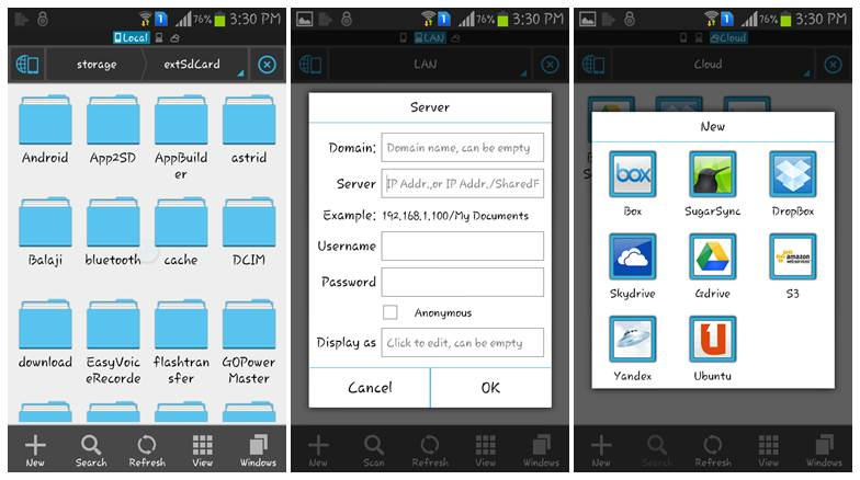 Accessing Cloud Storage Using Android File manager