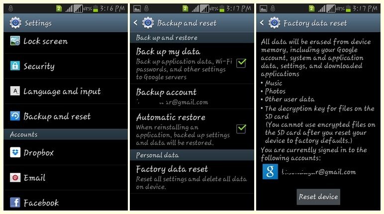 Factory Reset Android