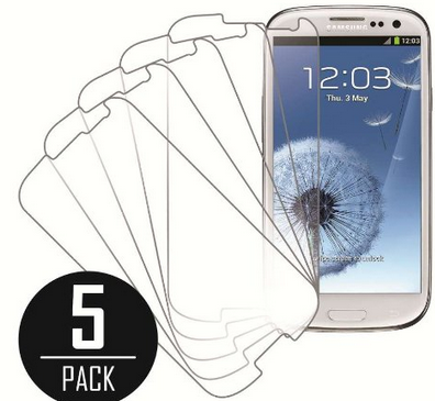 MPERO Collection 5 Pack of Clear Screen Protectors for Samsung Galaxy S3
