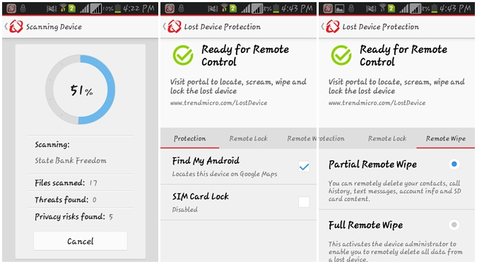 Android Antivirus Scanner & Remotely Wipe Data