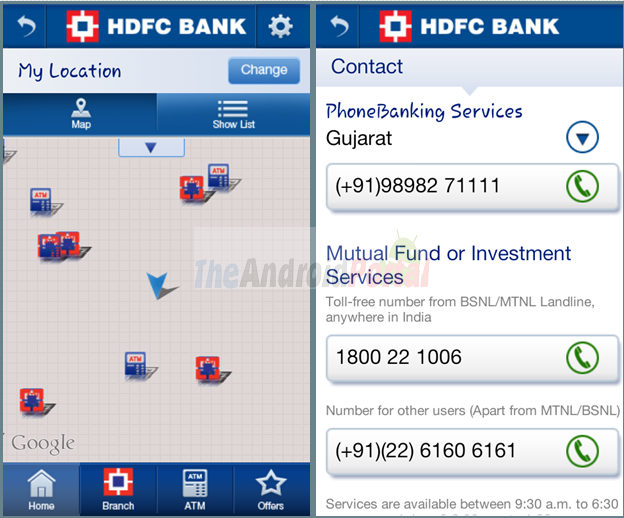 HDFC Bank MobileBanking - Find HDFC branches and ATMs Nearby