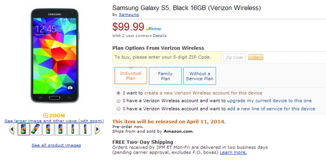 Verizon Samsung Galaxy S5 Amazon deal
