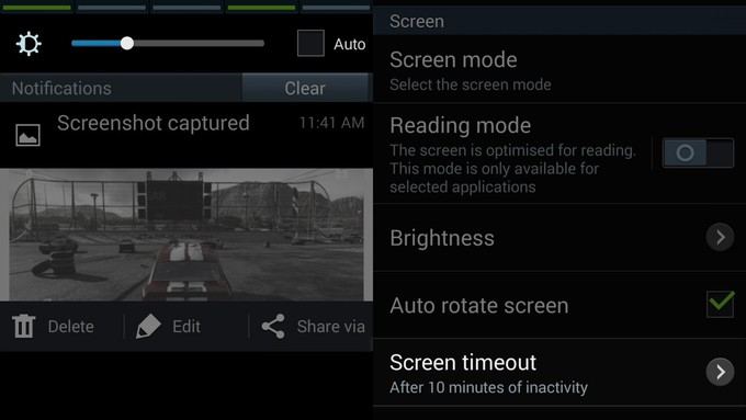 Time Out and Screen Brightness on S4