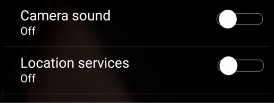disable the camera shutter sound on a Sony