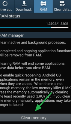 How to clear the memory RAM