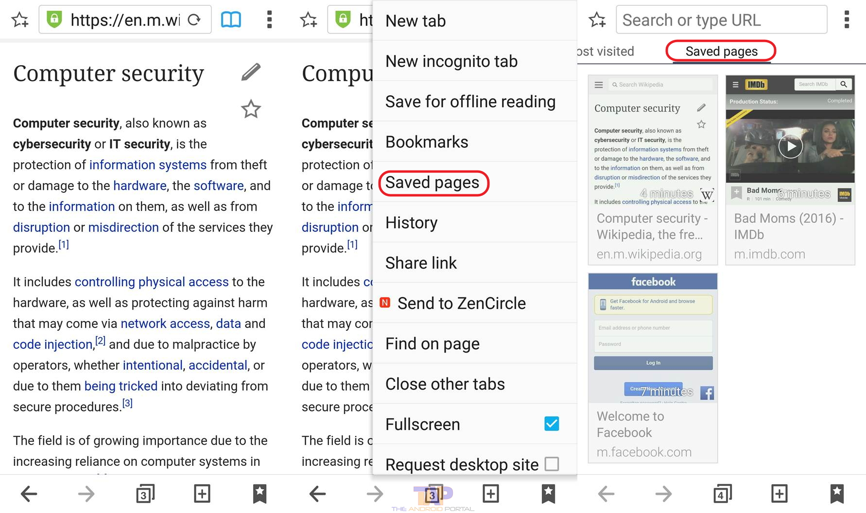 How to Access to Saved Pages on Android Device