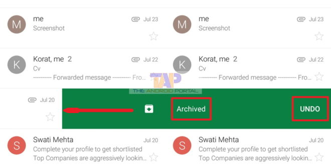 What Does Archive Mean - By Swiping an Email from left to right