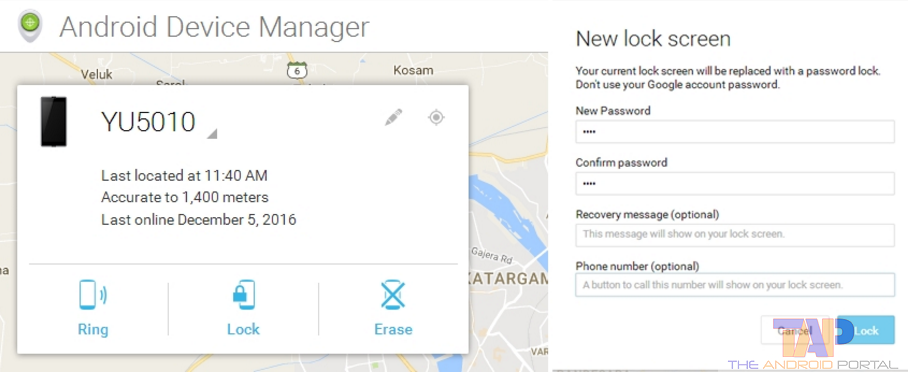 Set Lock Password using Android Device manager