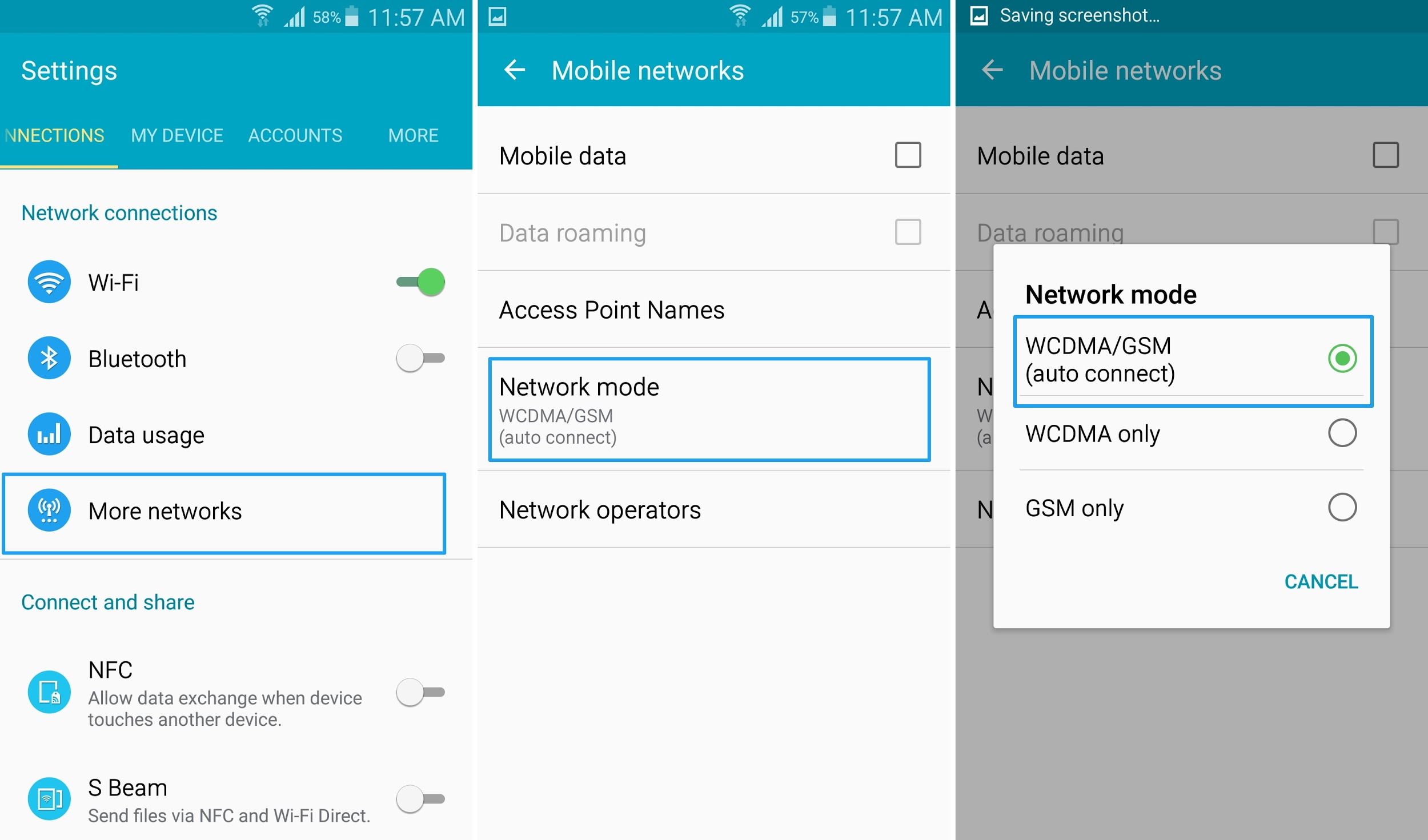 Set Network Mode to Auto on S4