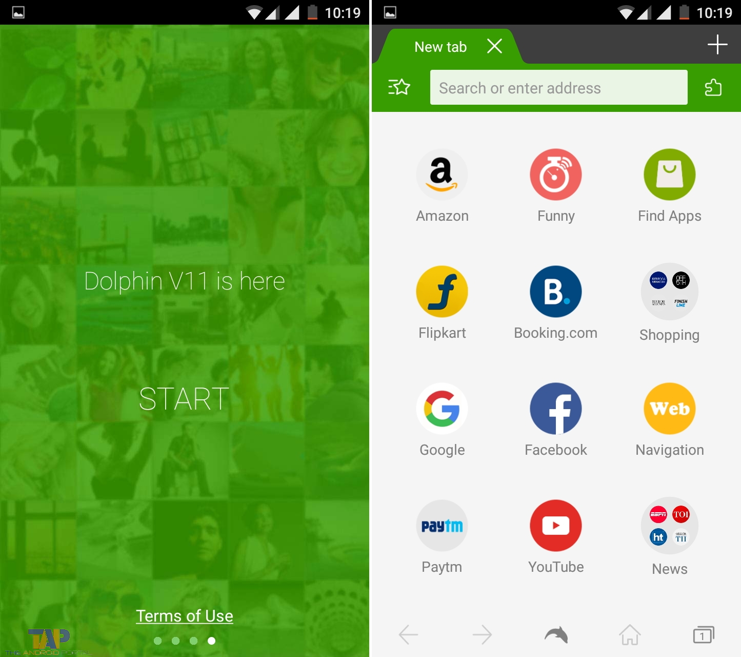 Open Dolphin Browser on your Android Device