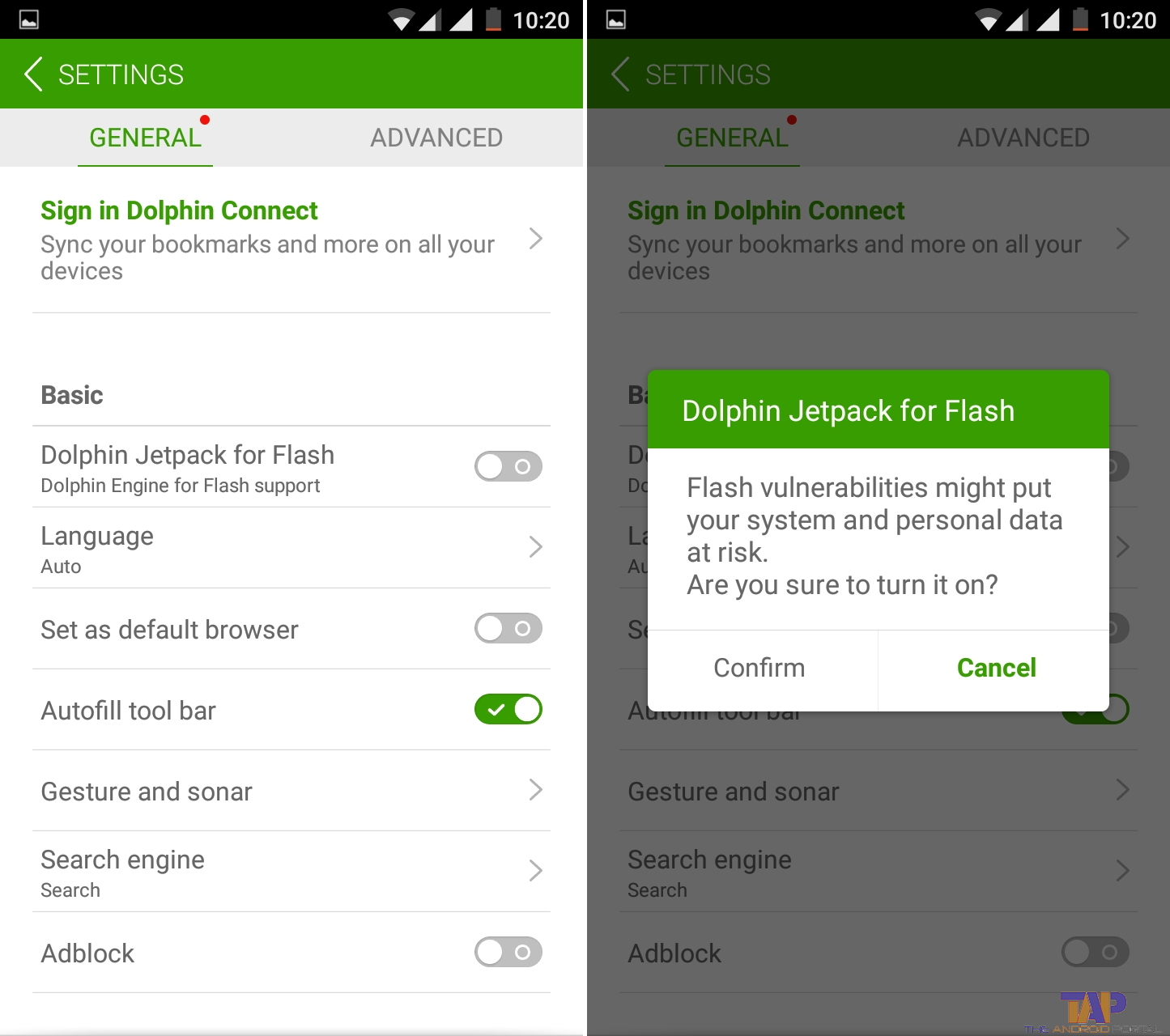 click on Setting icon to open Dolphin Browser settings