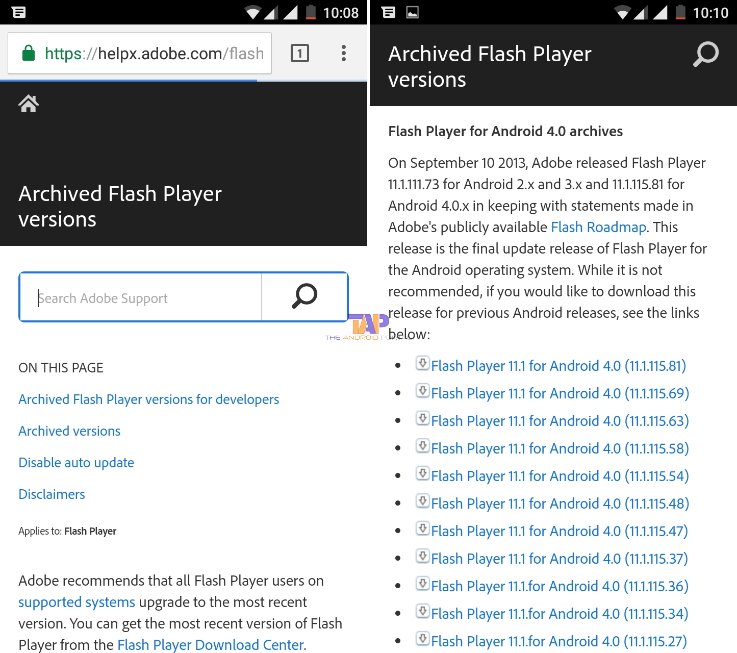 Download Flash Player Archive Page