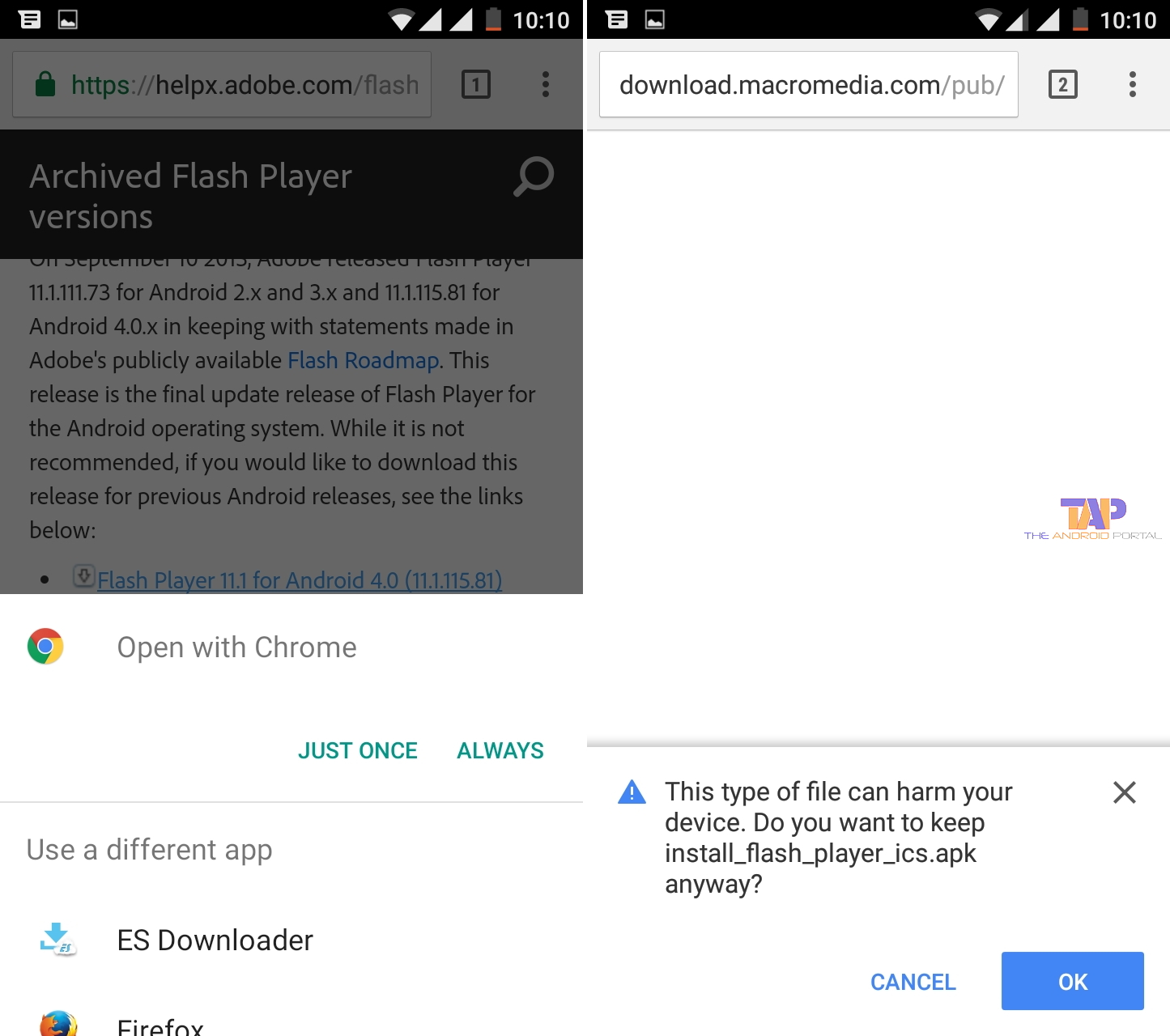 Flash Player for Android 4.0 archives