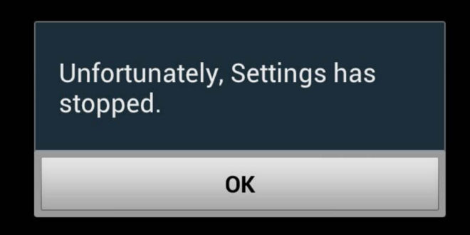 unfortunately settings has stopped