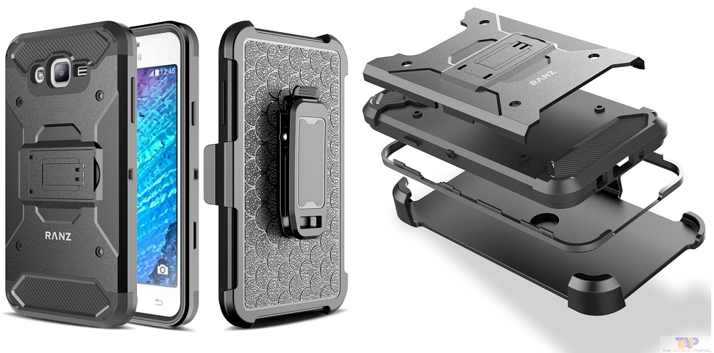 RANZ Black Heavy Duty Ultimate Protection with Swivel Belt Clip Dual-Use Holster with Kickstand Case for J7