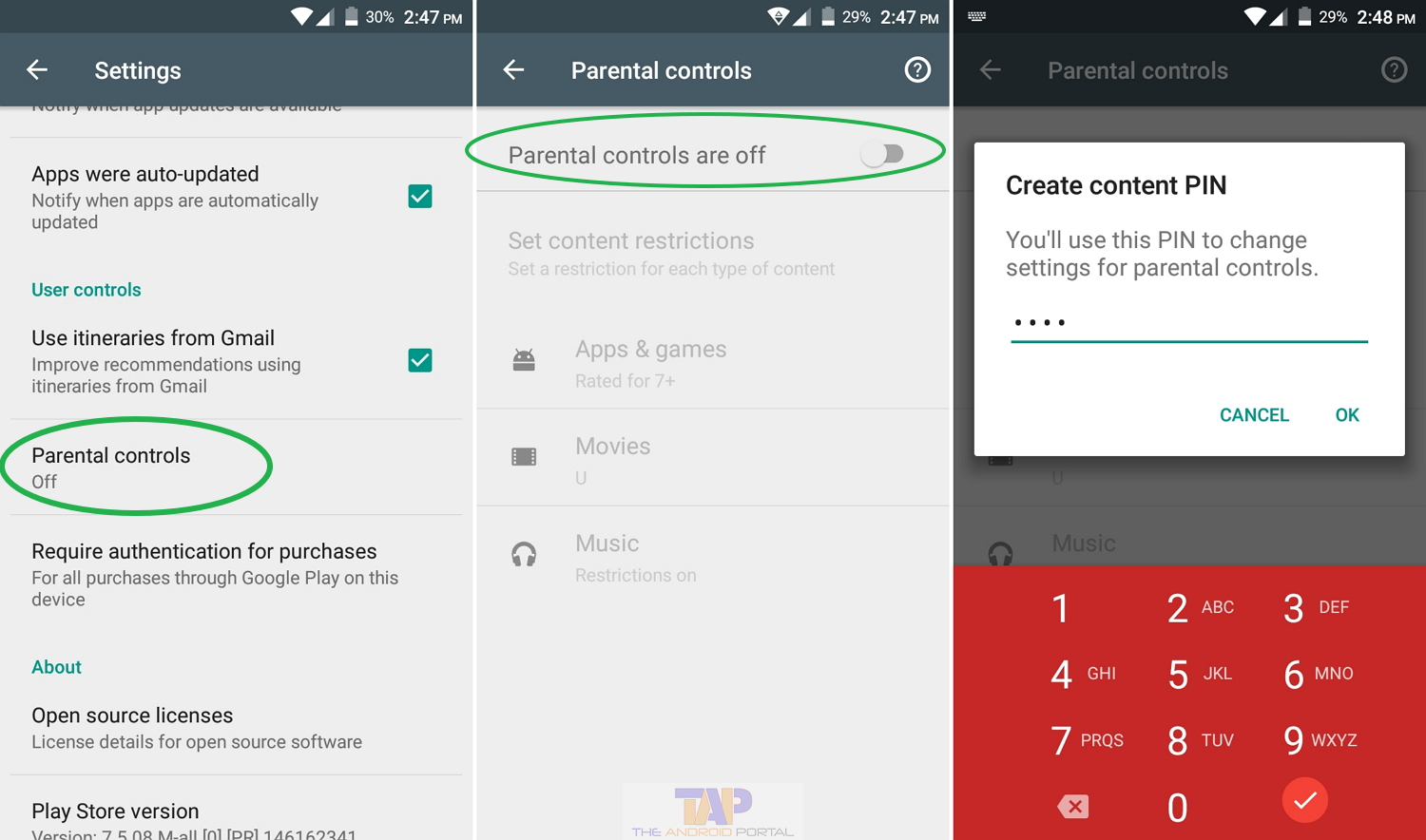 how to set parental controls on google play store