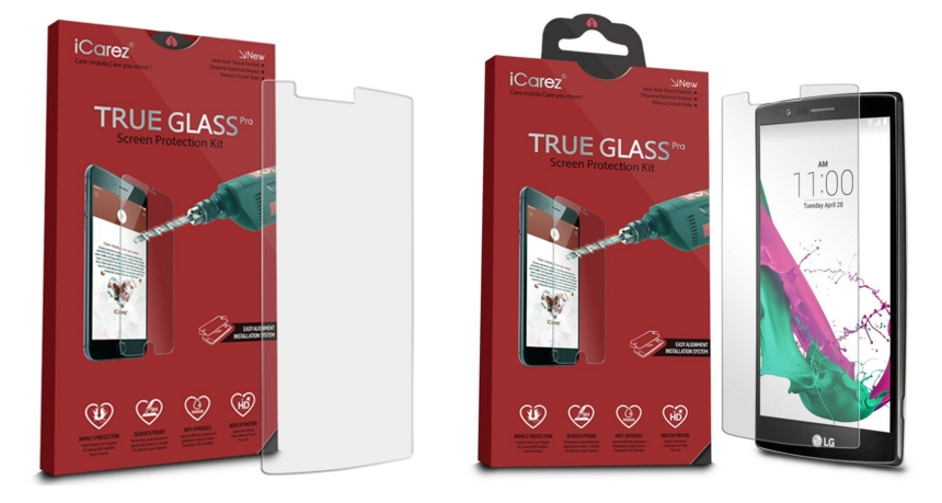 iCarez Tempered Glass Screen Protector for LG G4 Device