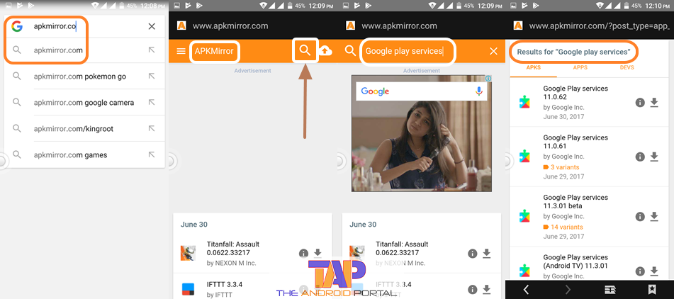 Download the latest Google Play Services with .apk file