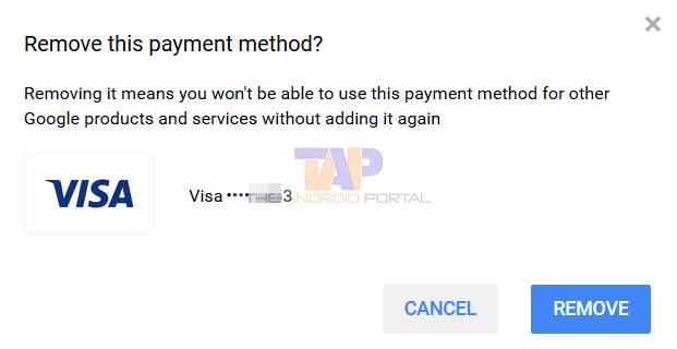 Remove Payment Method from Google play store