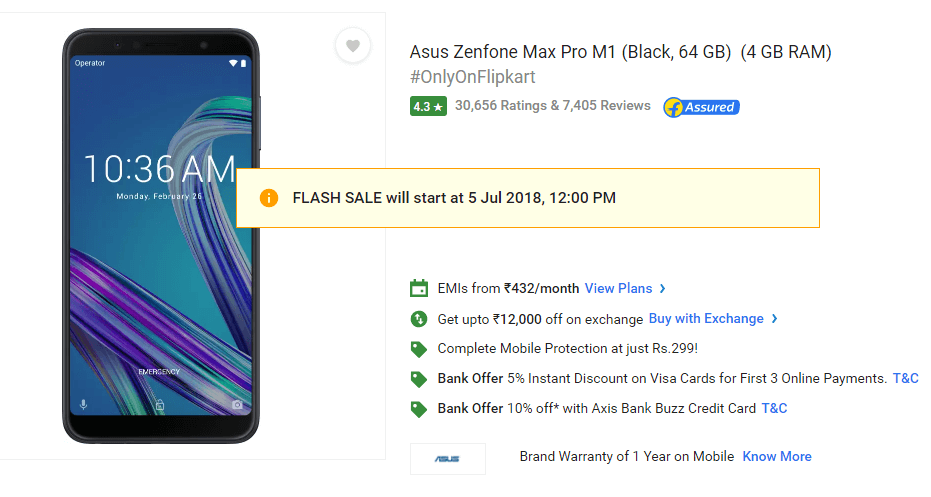 The Asus Zenfone Max Pro M1 to on Sale via Flipkart at 12.00pm Today