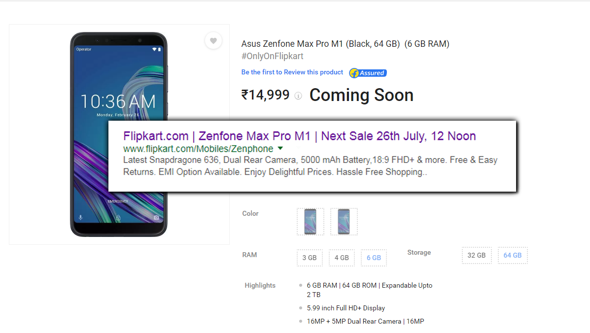 Asus Zenfone Max Pro M1 6gb Launched Next Sale At 26th July 12pm Ram 3gb