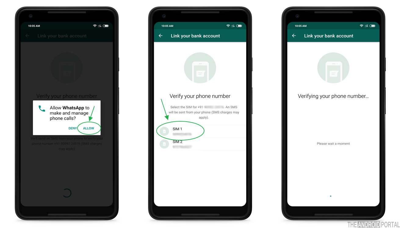 Verifying Bank Details for WhatsApp UPI Payment