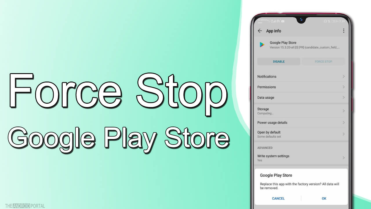 force stop google play store
