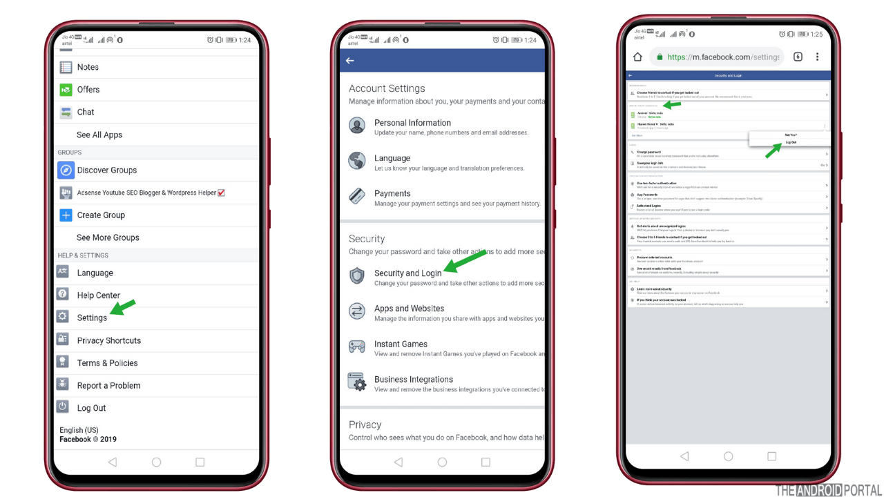how to log out of facebook on android