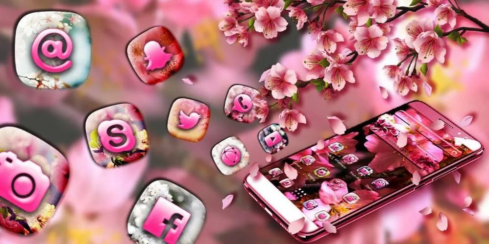 Pink Cherry Blossom Free Theme For Android