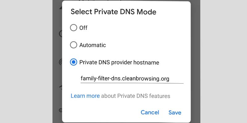 Private DNS Mode Android
