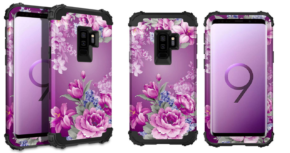 Lontect Compatible Galaxy S9 Plus Case Floral 3 in 1 Heavy Duty Hybrid Sturdy Armor High Impact Shockproof Protective Cover Case for Samsung Galaxy S9 Plus