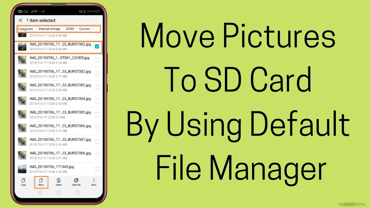 Move Pictures To SD Card By Using Default File Manager