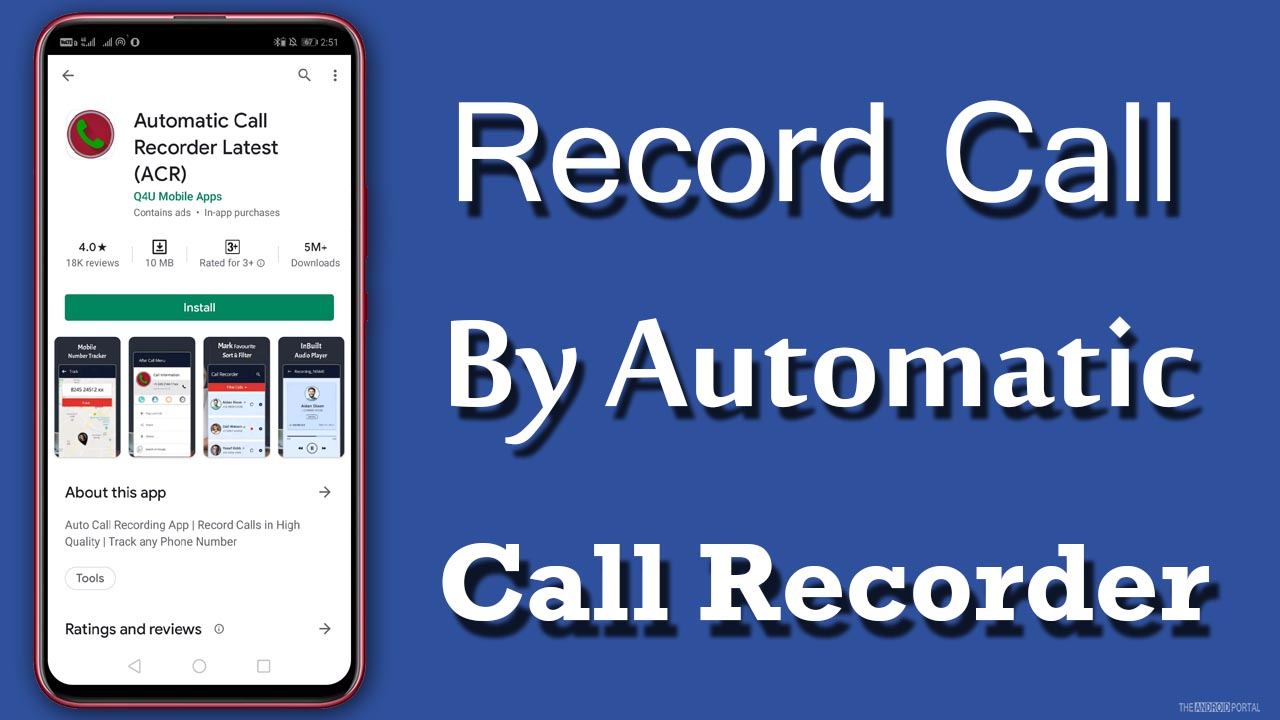 Record Call By Automatic Call Recorder Latest (ACR)