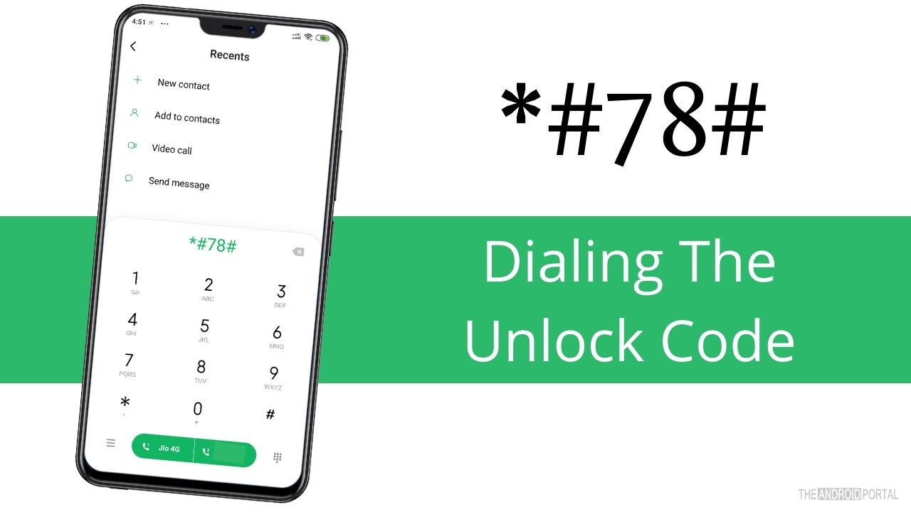 Dialing The Unlock Code on android